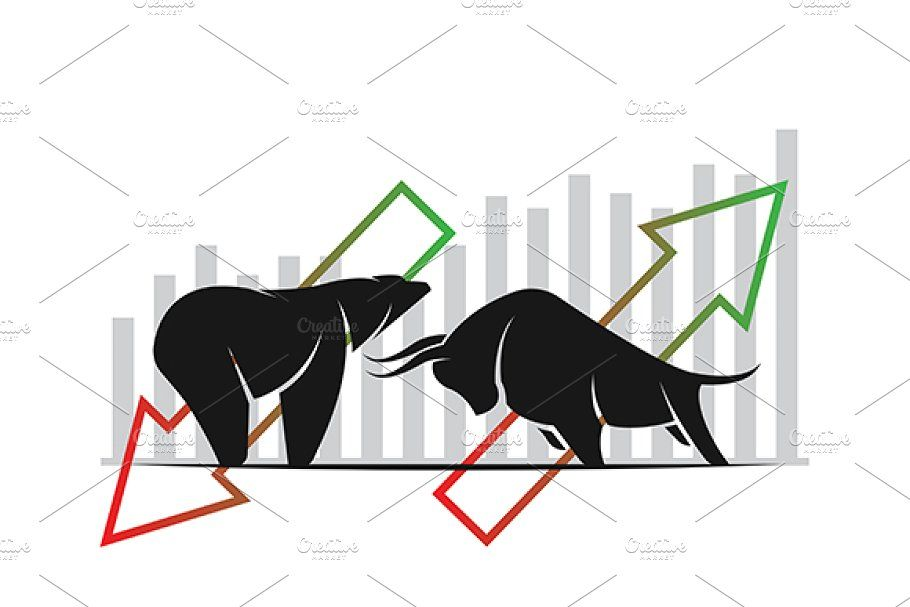 Vector of bull and bearstock market stock market trends
