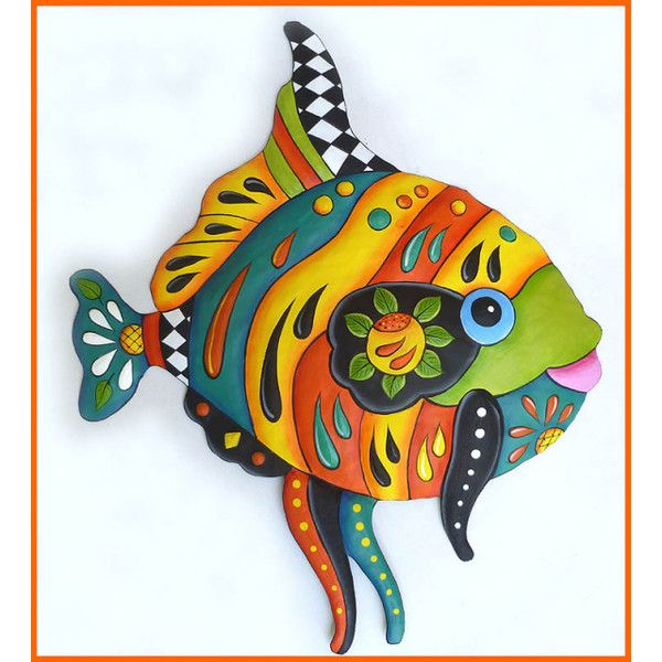 Tropical fish wall hanging hand painted metal design metal art