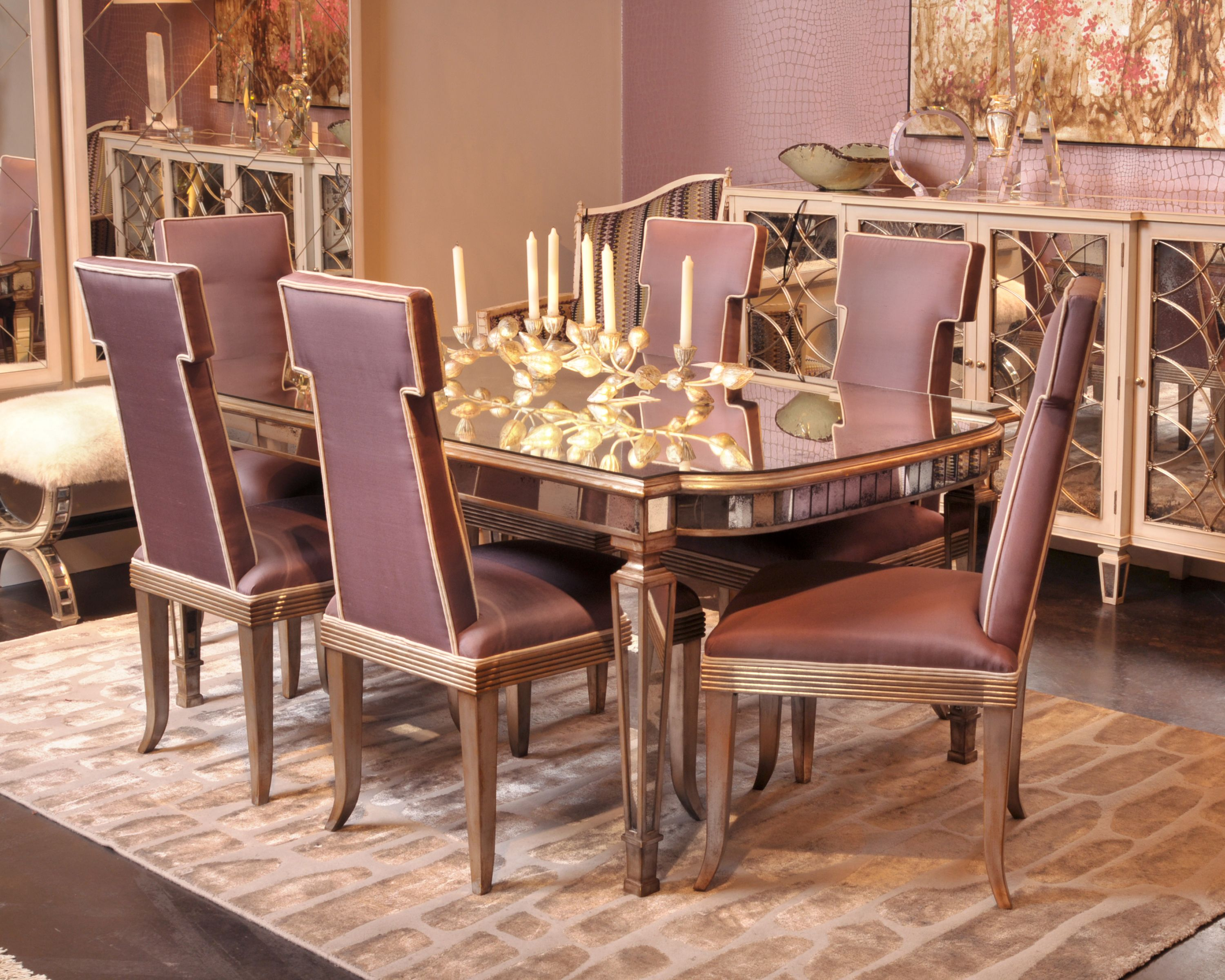 The John Richard Bourbon Dining Table Has A Foxed Mirror Top And Apron Rail All Supported By Four Tapered And Mirrored Leg Dining Table Chairs Home Decor Home