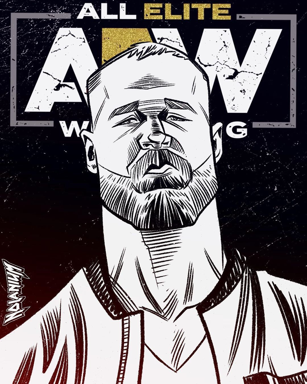 """Official AEW Jon Moxley /""""Unscripted Violence/"""" T-Shirt All Elite Wrestling"""