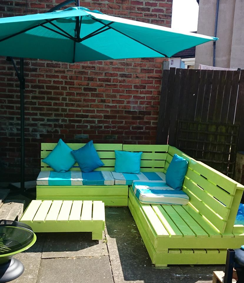 Garden furniture from wooden pallets timber packing cases