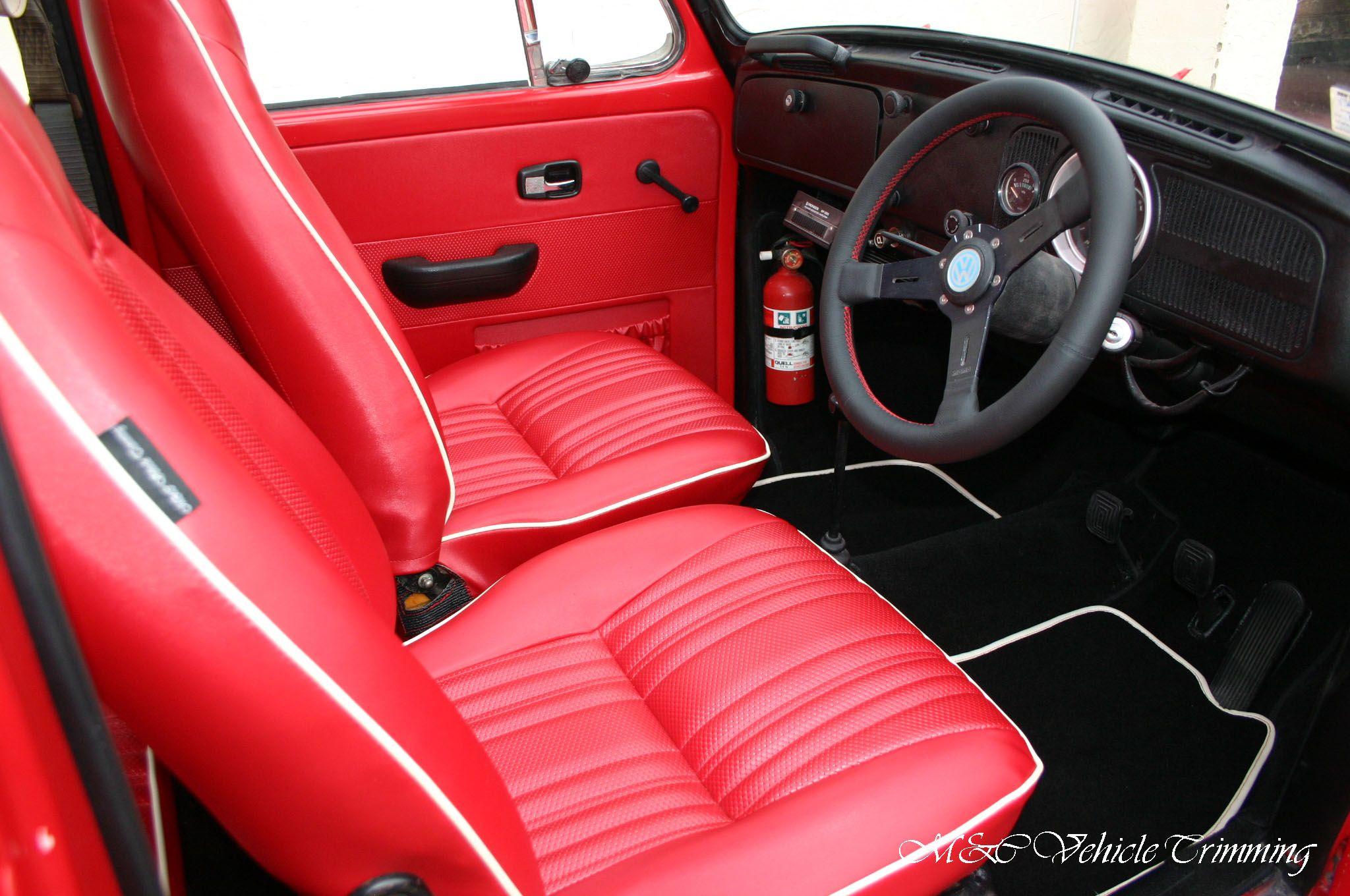 Volkswagen Super Beetle 1971 Red Vinyl Custom Interior Mcvehicletrimming Autoupholstery Volkswagen Bus Interior Car Interior Upholstery Custom Car Interior