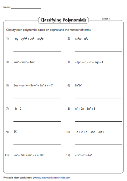 Classify Polynomials Based On Number Of Terms And Degrees Polynomials Algebra Worksheets Pre Algebra Worksheets