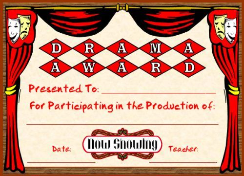 Art and music award certificates certificate elementary schools drama award you can find this printable award and many other awards and certificates yadclub Images