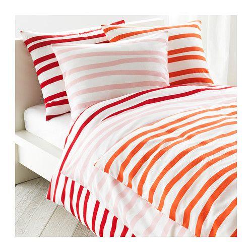 Ikea Duvet Quilt Cover Pillowcases 3 Pcs Set Springkorn White Red Or Pink New Ikea Duvet Orange Bed Linen Quilted Duvet