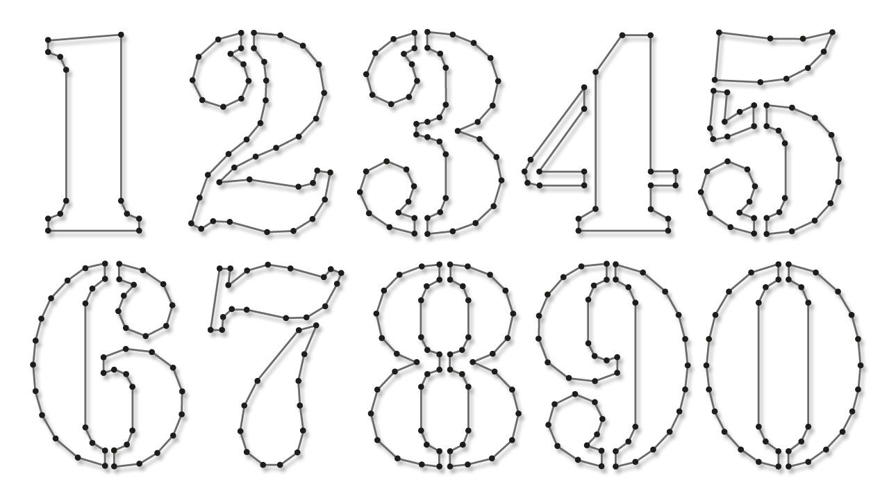 String-art pattern sheets NUMBERS STENCIL (number height 10cm) - www ...