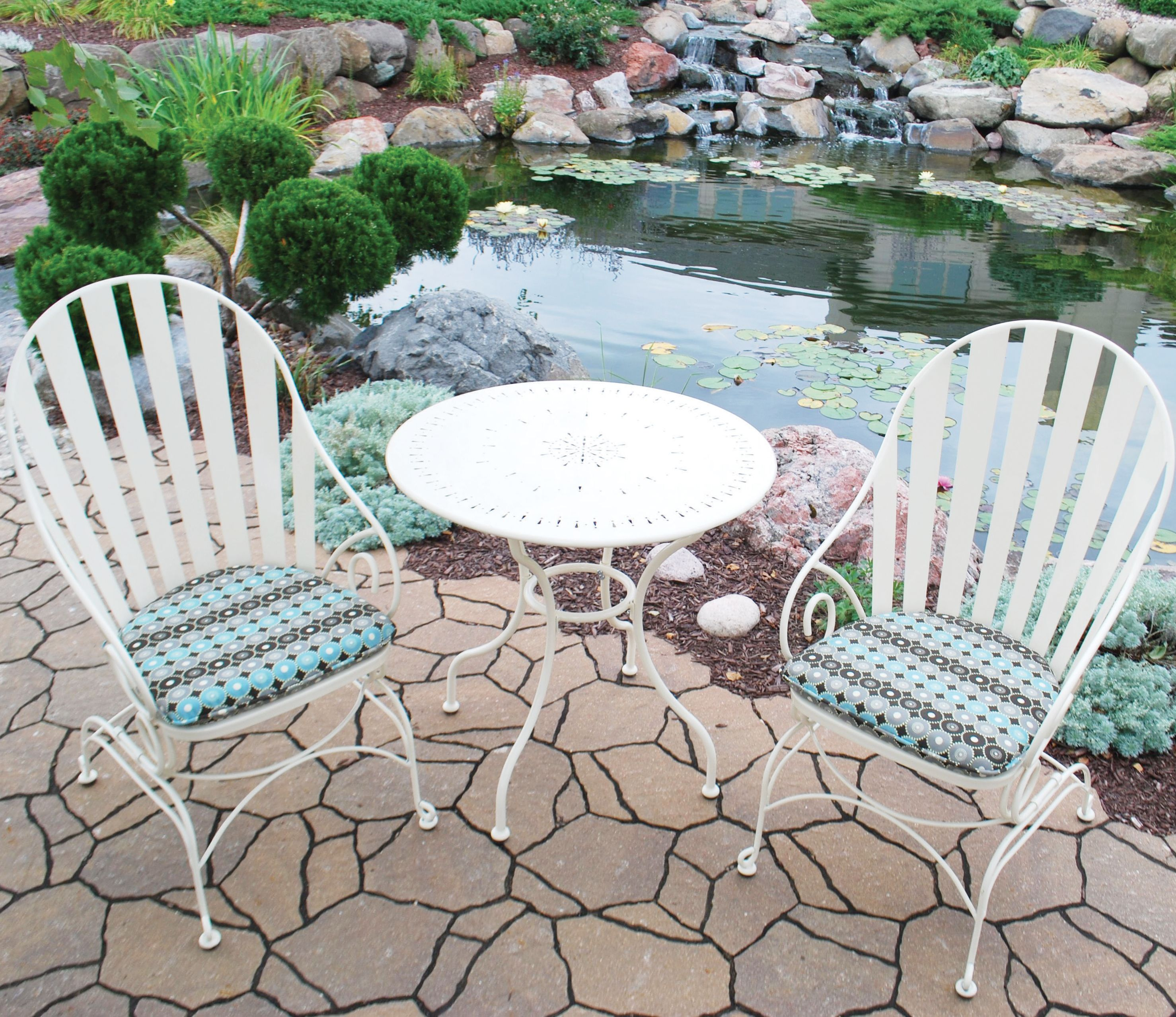 attractive Backyard Creations Menards Part - 16: Backyard Creations Island Lake Bistro Collection at Menards - This is a  terrible photo, but this set is super comfortable and really cute.