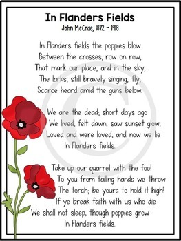 In Flanders Fields A World War I Poetry Analysis Works With Distance Learning Flanders Field Flanders Fields Poem Remembrance Day