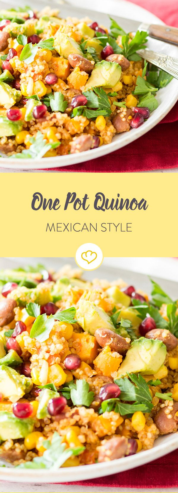 Photo of One Pot Quinoa 'Mexican-Style' with pomegranate seeds