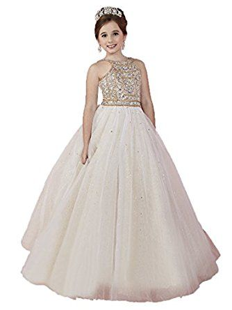 0a9016e9225 Amazon.com  Wenli Little Girls Glitz Shiny Ball Gowns Long Princess  Birthday Party Dresses  Clothing