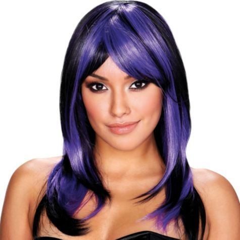 Brianna Black And Purple Wig Party City Canada Purple Wig Wigs With Bangs Wigs