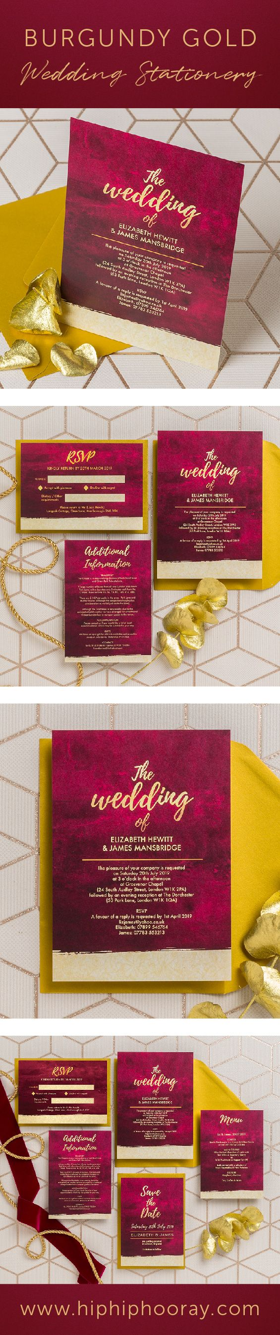 Burgundy & gold personalised wedding stationery collection. (maroon ...