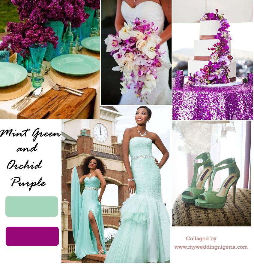 Orchid Purple And Mint Green Color Palette Wedding Colour Schemeswedding