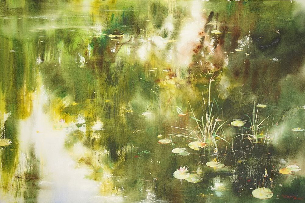 Summer Dancing Light  仲夏光韻  65cm x 91cm watercolor on canvas 2013