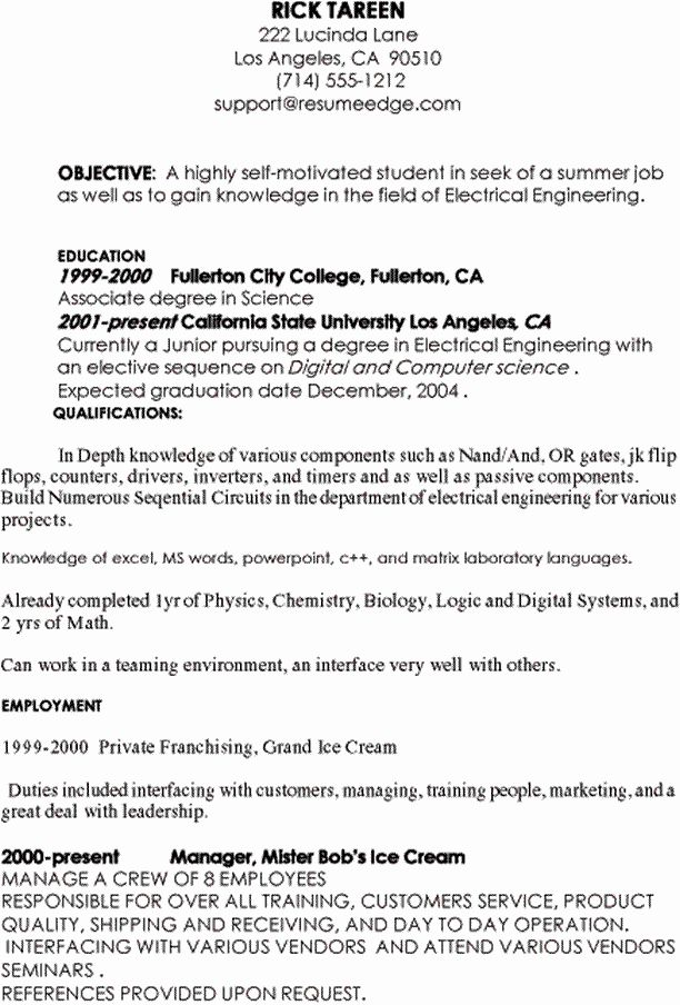 Computer Science Resume Internship New Sample Resume for