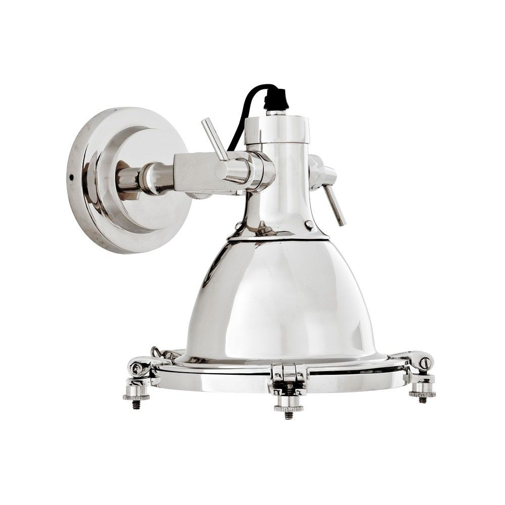 Eichholtz+Sea+Explorer+Wall+Lamp+-+Polished+nickel+nautical+style+wall+lamp+from+Eichholtz. This+dynamic+luxury+wall+light+is+inspired+by+maritime+ship's+lamps+and+is+adjustable+allowing+you+to+direct+light+as+required. The+classic+face+of+the+lamp+has+feature+nickel+bolts+to+the+perimeter+adding+detail+and+interest. Requires+1+x+E14+bulb+max+40W+(not+included).
