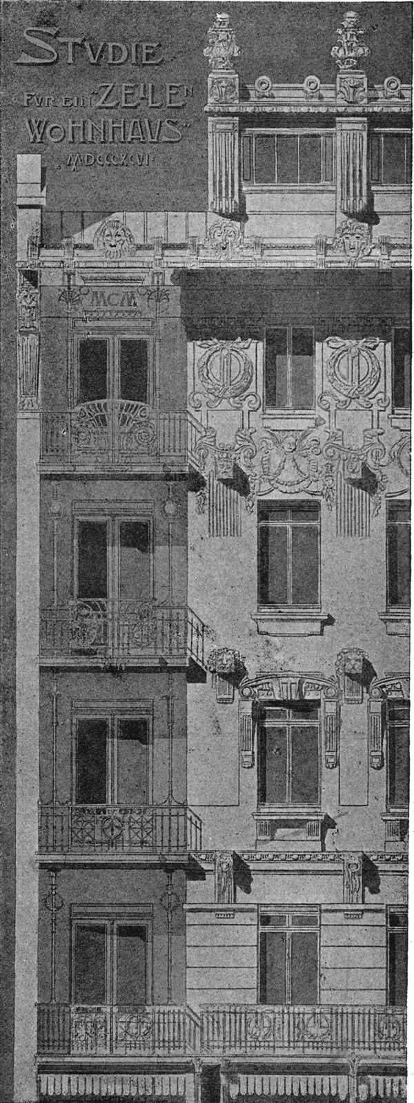 Sketch a facade for the apartment building. Architect Joseph Plečnik. The architecture of the second half of the XIX century. Drawings and sketches.