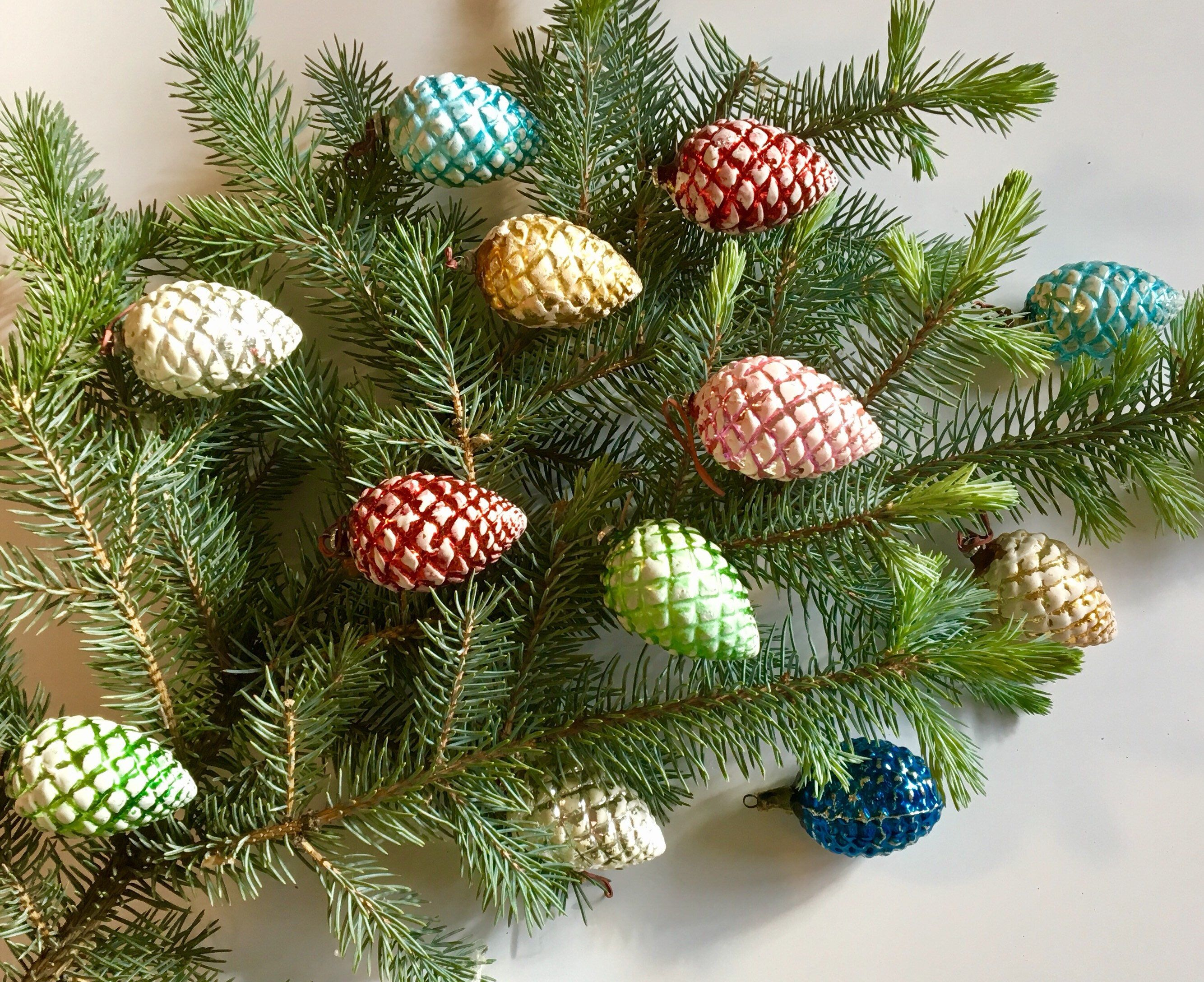 Vintage Pinecone Glass Christmas Ornaments, Set Of 13  Mercury