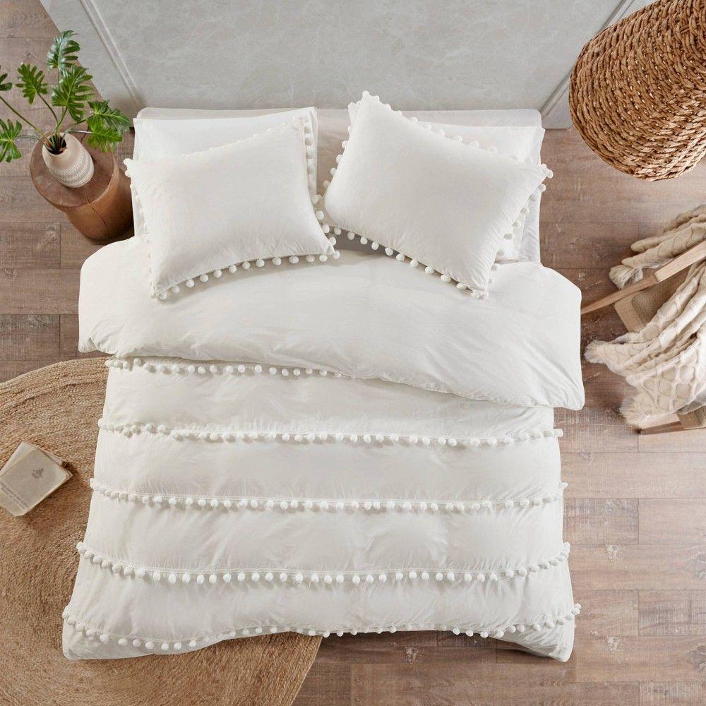 Elly King California King 3pc Pom Pom Cotton Comforter Set Ivory