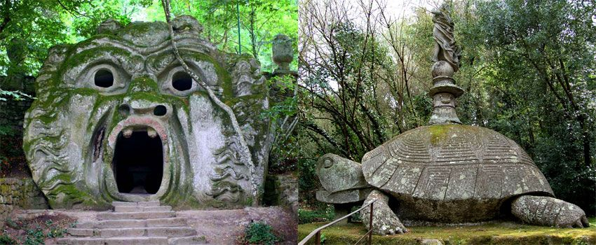 the mysterious Sacro Bosco (Sacred Wood) also known as Parco dei Mostri (Monster Park) in Bomarzo, Italy