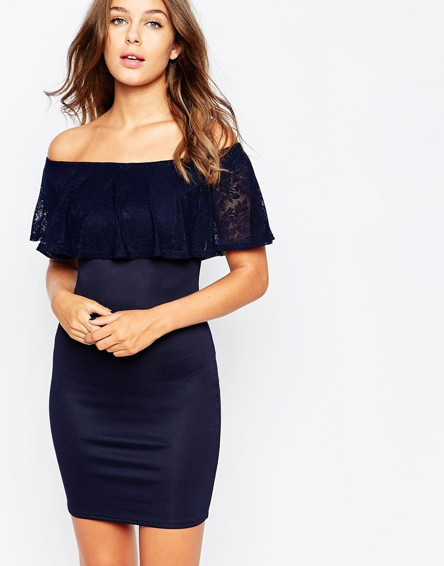 Club L Essentials Bodycon Dress with Lace Bardot Detail