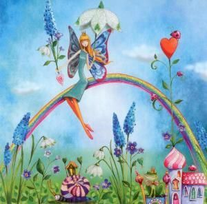 GOLLONG fairy on rainbow - Mila Marquis postcard