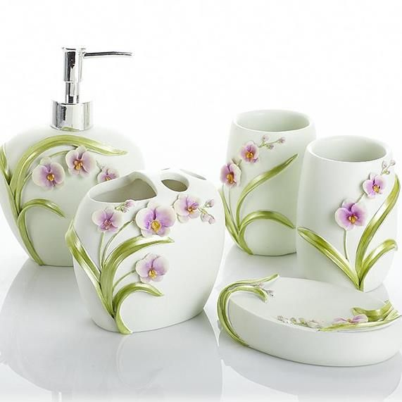 Graceful Attractive Orchid Design 5 Piece Bath Accessories On Sale Buy Retail Price Bath Ensembles At Beddinginn Com Bath Accessories Accessories Design