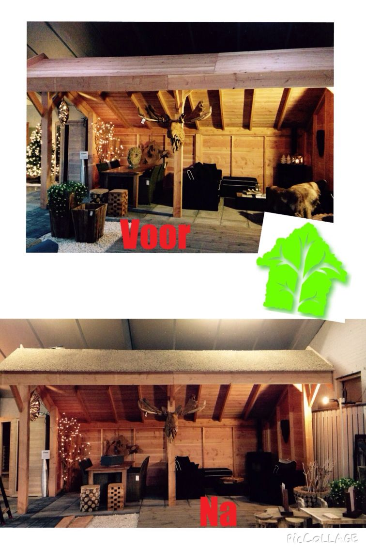 Vandaag heeft EasyRiet een rieten dak geplaatst op een blokhut en lariks kapschuur bij ons in de showroom en tuin.   Easy Riet   Leg nu eenvoudig een echt rieten dak. Dankzij de EasyRiet schakelbare dakpanelen voorzien van echt riet is het nu bijzonder eenvoudig om bijvoorbeeld een garage, tuinhuis of kapschuur zelf te voorzien van een echt rieten dak.  Ook nieuwsgierig hoe mooi dit lijkt bij u in de tuin? Kom langs bij Hemmes Tuin&Lifestyle en vraag vrijblijvend een offerte aan!