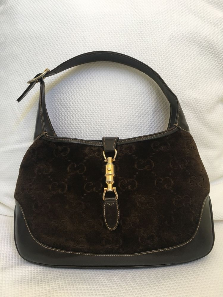 Rare Vintage 70s Gucci Brown Velvet Leather Jackie O Hobo Handbag Hobo Handbags Hobo Handbag