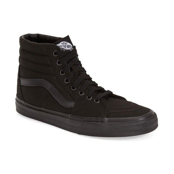 Vans 'Sk8-Hi' Sneaker ($60) ❤ liked on Polyvore featuring shoes, sneakers,  black canvas, black hi tops, hi tops, black high tops, black lace up sho…