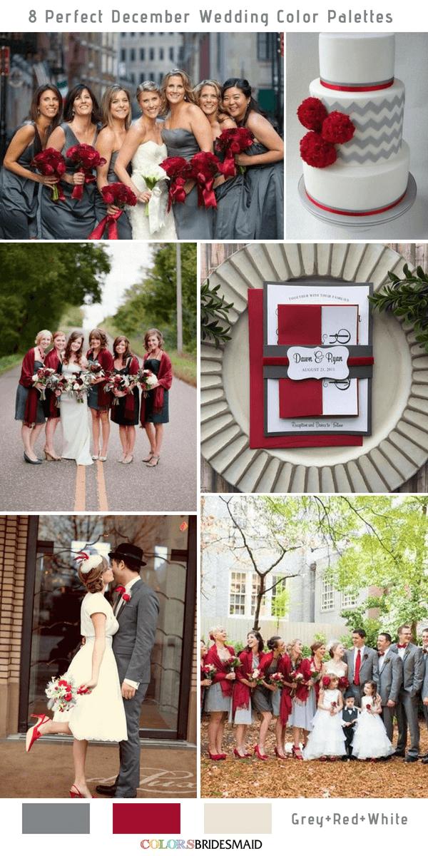8 Perfect December Wedding Color Palettes Ideas December Wedding Colors Wedding Colors Red Red Wedding Theme