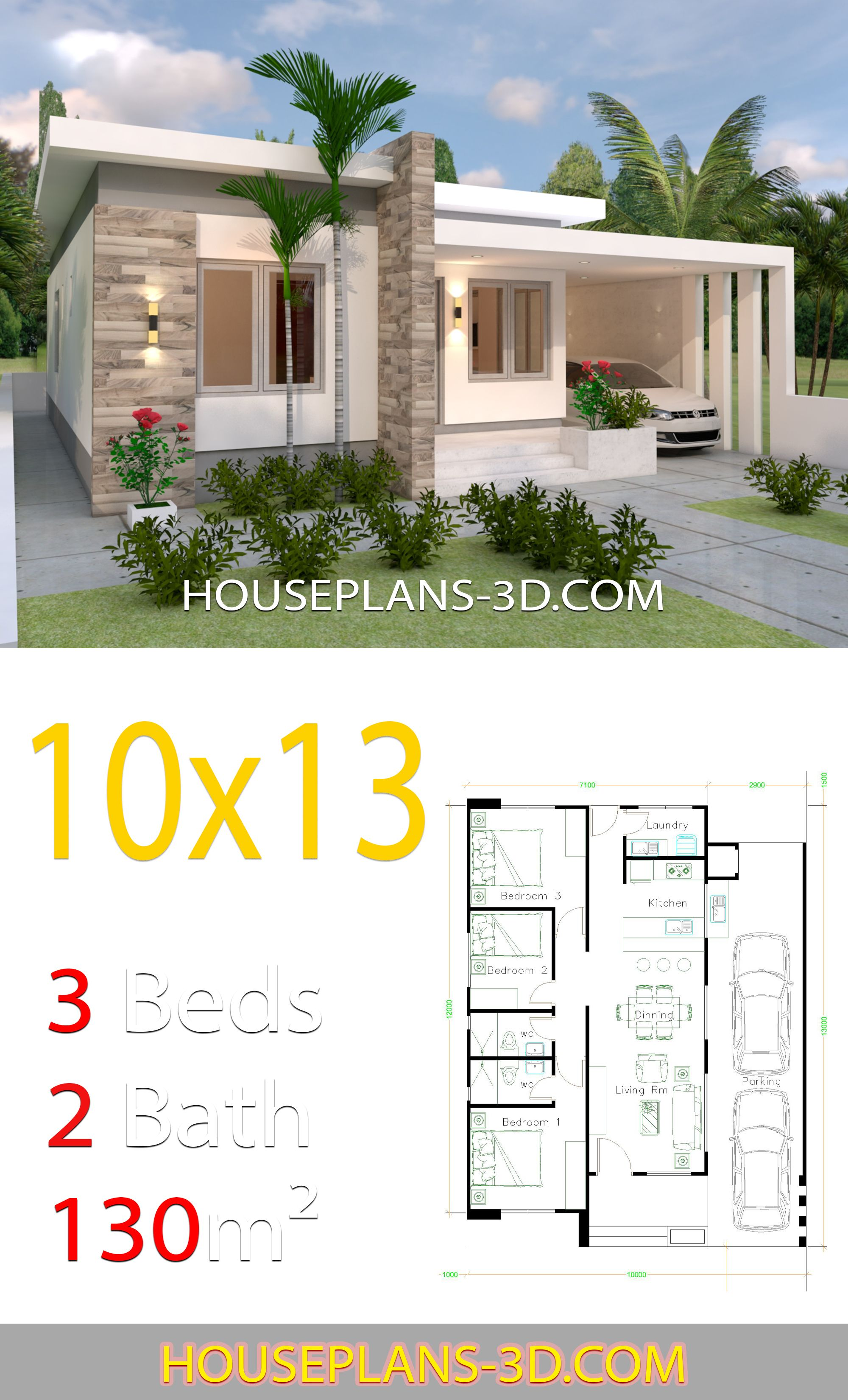 House Design 10x13 With 3 Bedrooms Full Plans House Plans 3d In 2020 House Construction Plan Modern Bungalow House Small House Design