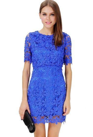 Blue Short Sleeve Hollow Floral Crochet Bodycon Dress - Sheinside ...