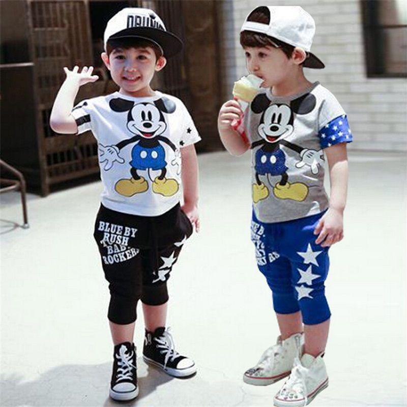 4221edbebc9f Fasion mickey Children Clothing set baby girls boys Clothes sets Minnie short  sleeve t-shirt+pant summer style Kids sport suit