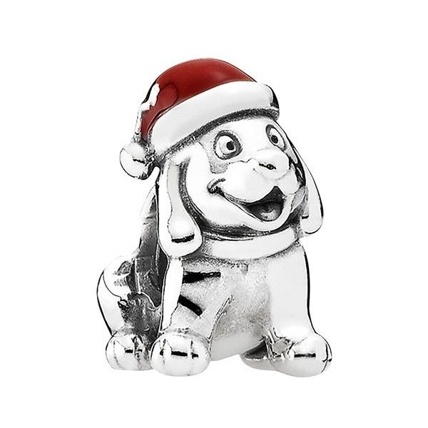 PANDORA 'Christmas Puppy' Charm ($45) ❤ liked on Polyvore featuring jewelry, pendants, pandora jewelry, christmas jewelry, dog charms, charm pendant and pandora jewellery