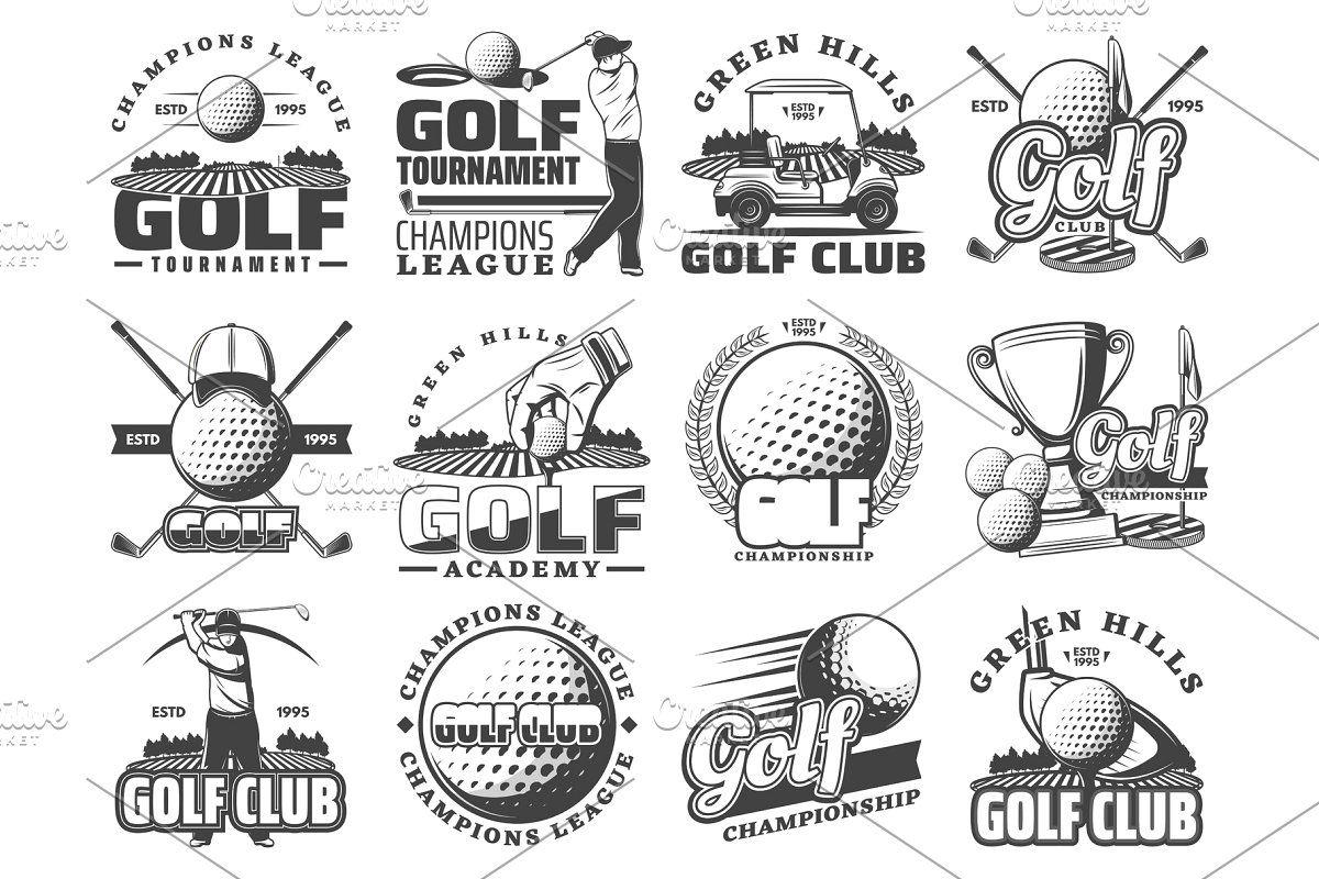 Golf sport heraldic vector icons in 2020 Golf sport