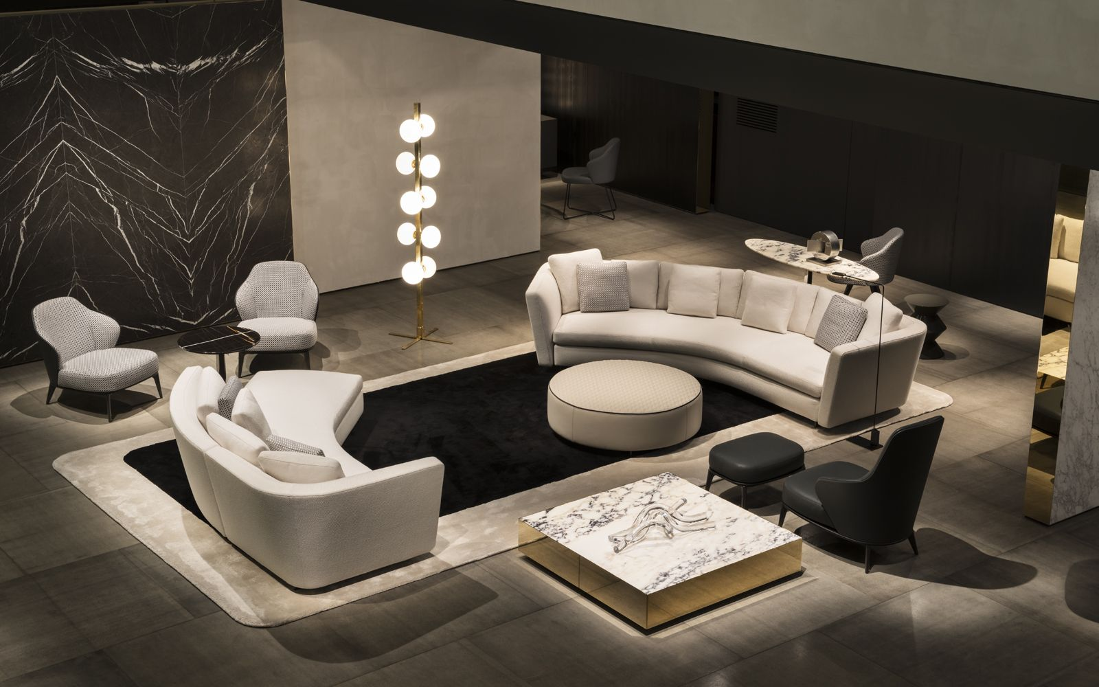 Seymour seating system leslie armchairs and elliott coffee table rodolfo dordoni design - Divano curvo design ...