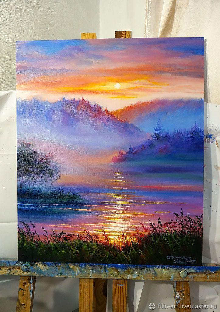 Купить Пейзаж Закат Картина маслом на холсте - Закат в тумане - красный, желтый, оранжевый, фиолетовый
