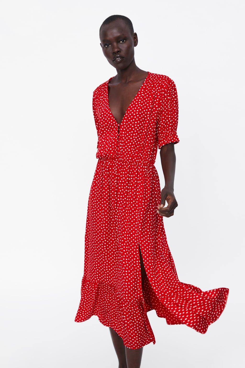 vestido Às bolinhas com folho - Última semana-mulher | zara