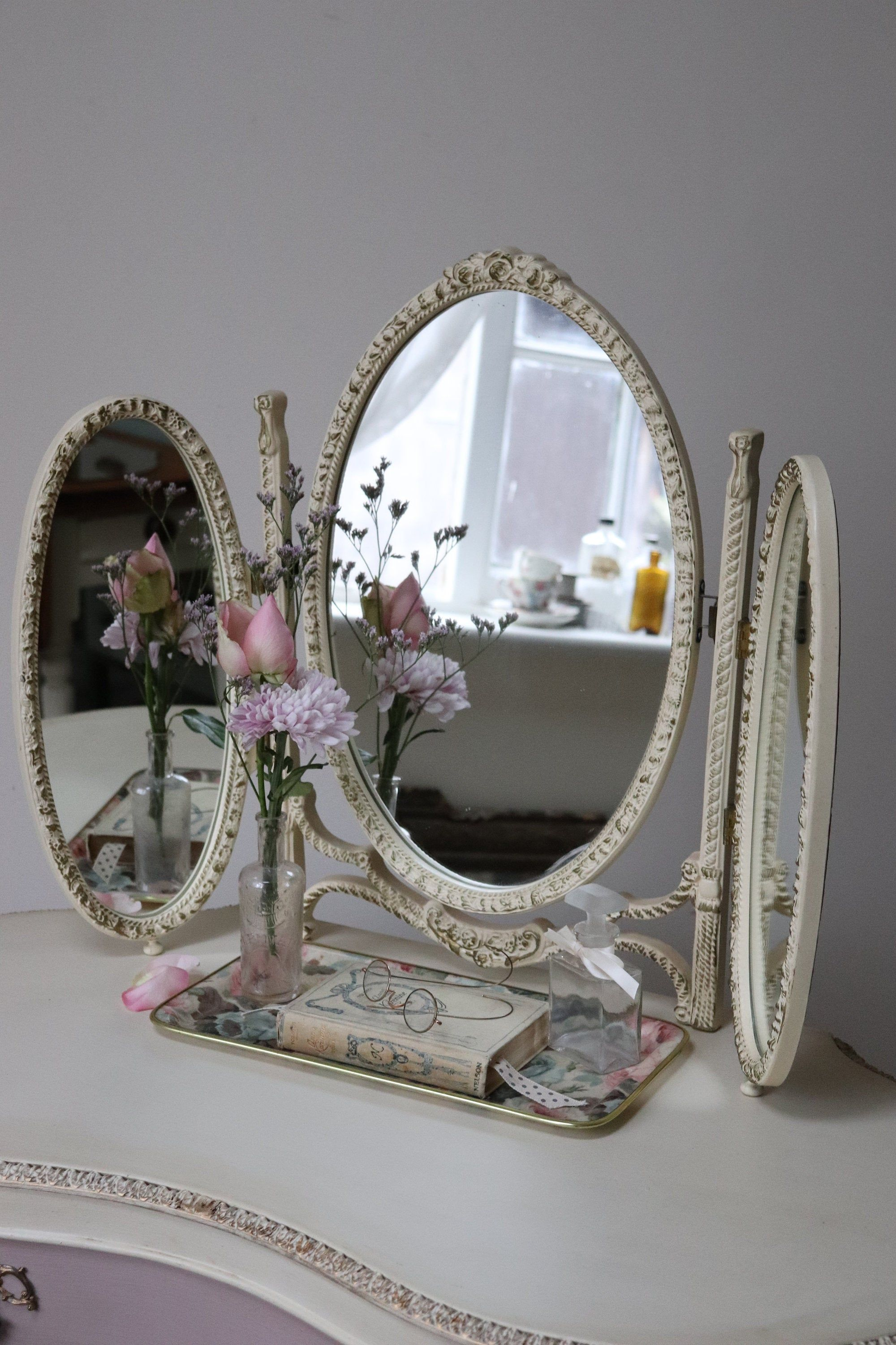 Antique Victorian Tabletop Ornate Gold Gilt Cast Iron Vanity Mirror With Swivel Leg Stand Swivel Tv Stand Victorian Tabletop Vintage Mirror