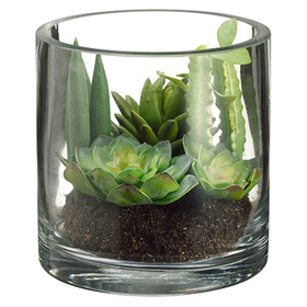 "5.5"" Succulent Garden Artificial Plant w/Glass Vase -Green/Burgundy (pack of 4) - LHS260-GR/BU"