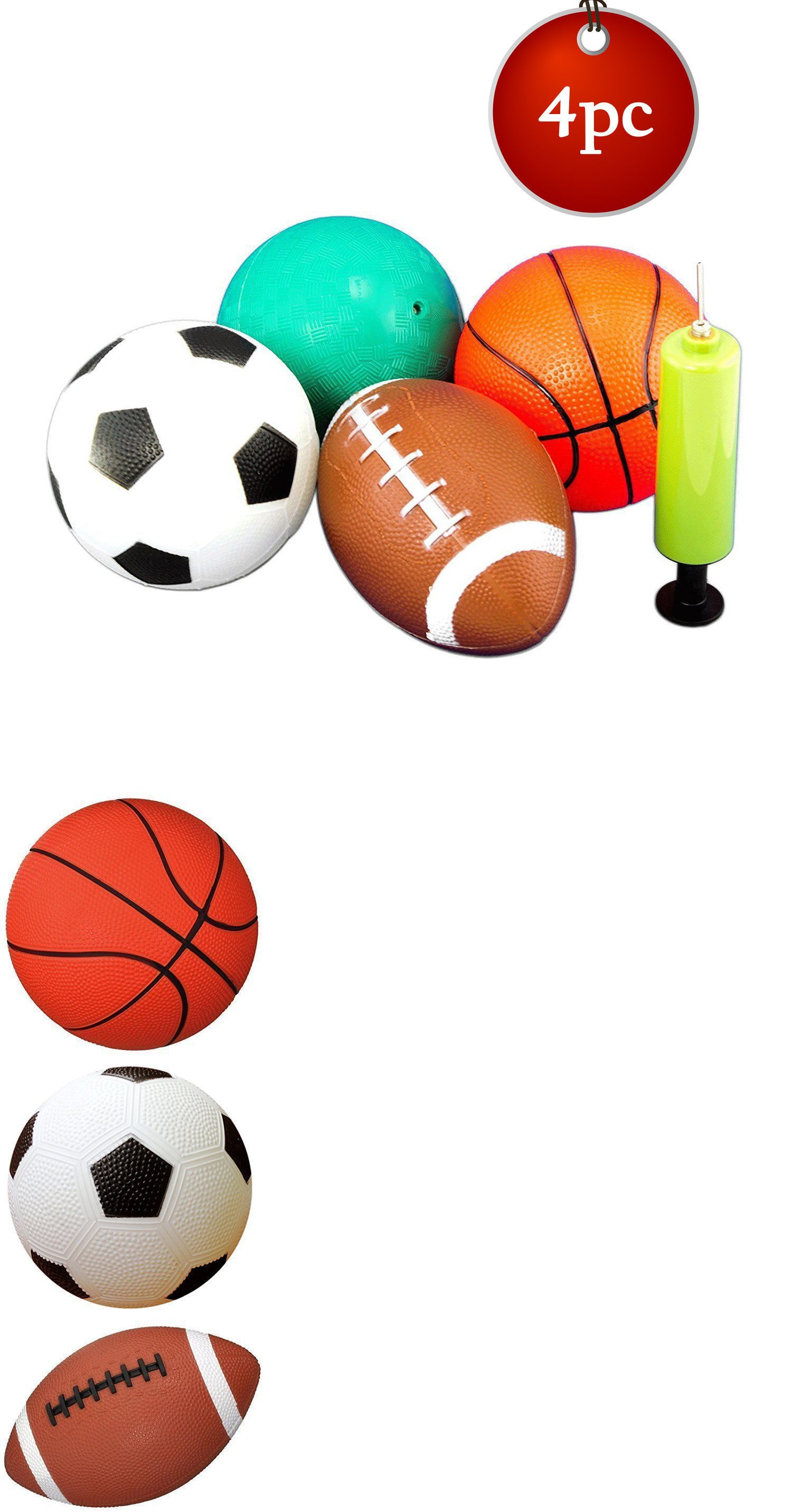 5 4pc Kids Sports Balls W Pump Dodgeball Soccer Football Basketball Toy Party Ebay Football And Basketball Kids Sports Sports Balls