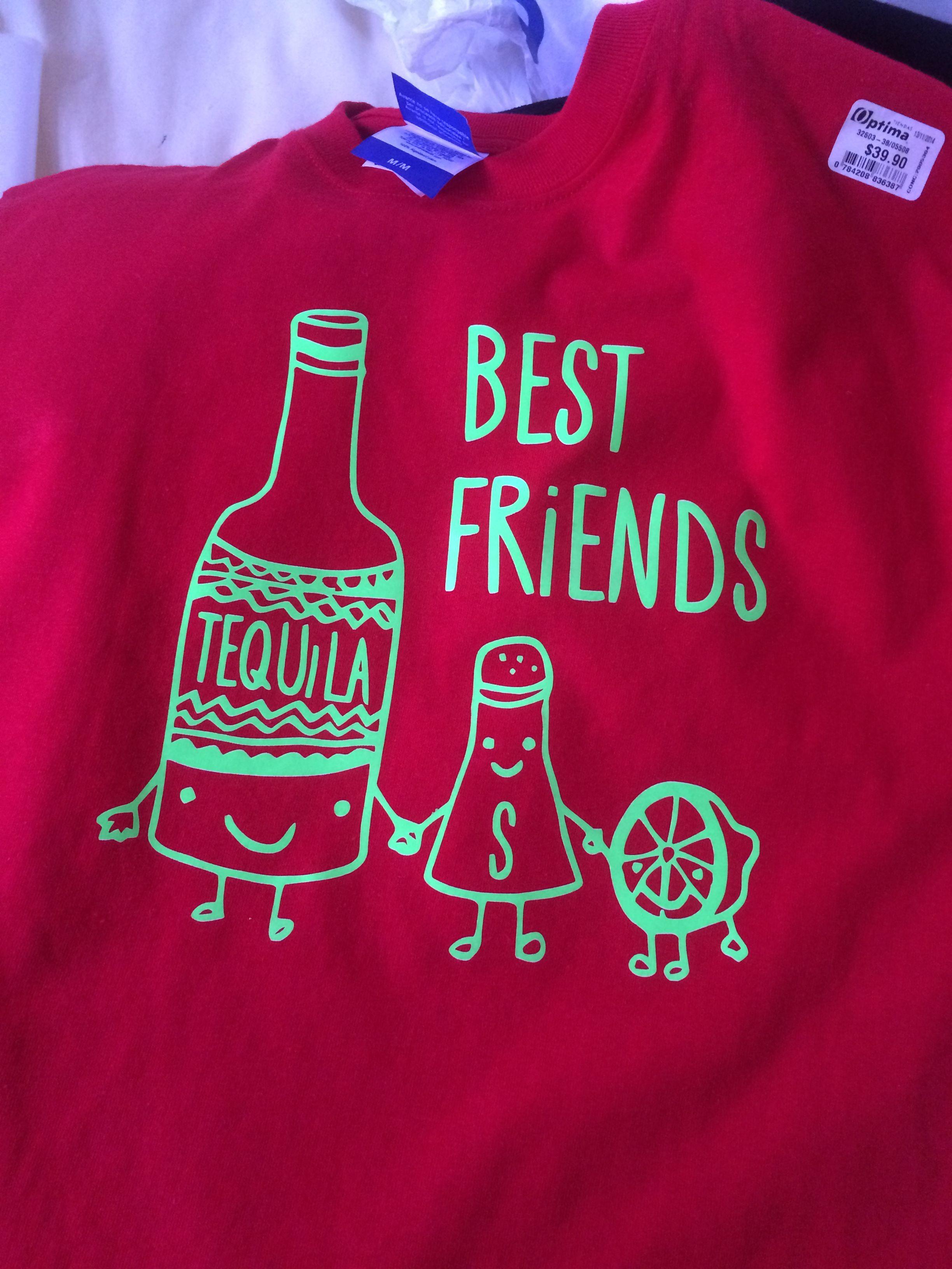Playera 100% algodón adulto personalizada y estampada en vinil textil  Tequila Best Friends d2779e47022e8