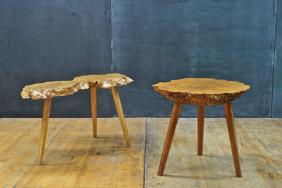 Olcott Blonde Burlwood Petite Table : 20th Century Vintage Industrial Modern50 Style