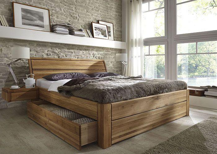 Bett mit Schubladen Wildeiche massiv Funktionsbett 140