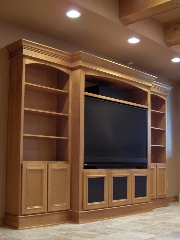 Media Center With Eyebrow Arch Very Clean Built In
