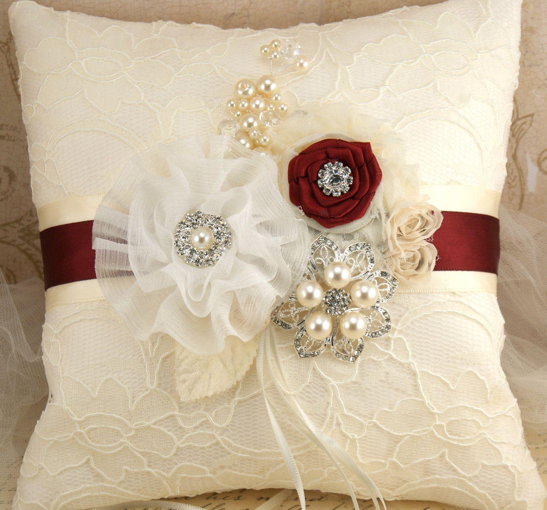 Ring Bearer Pillow Elegant Wedding Ivory Cream White Burgundy