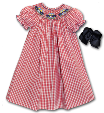 8c9afbdd5f2 This and That For Kids - SS Hand Smocked Police Cars Bishop Dress