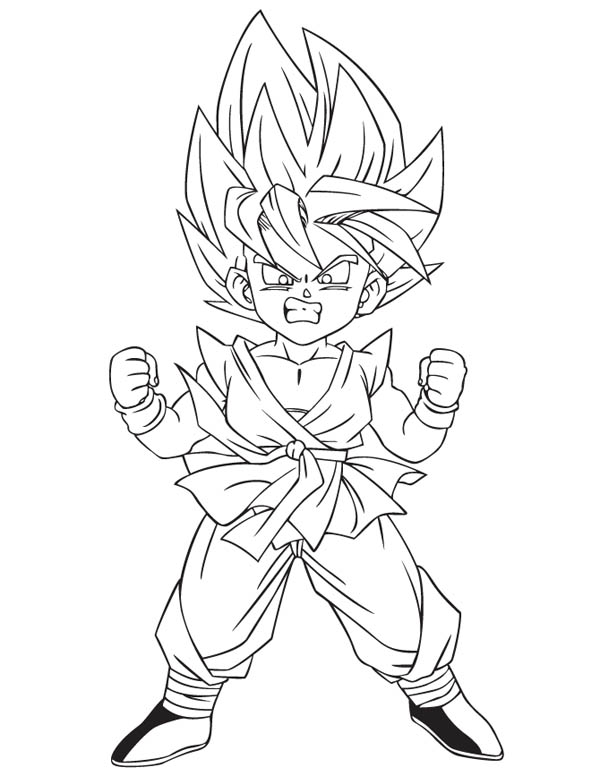 Little Goku Super Saiyan 2 Form In Dragon Ball Z Coloring Page Kids Play Color Super Coloring Pages Goku Drawing Dragon Ball Art