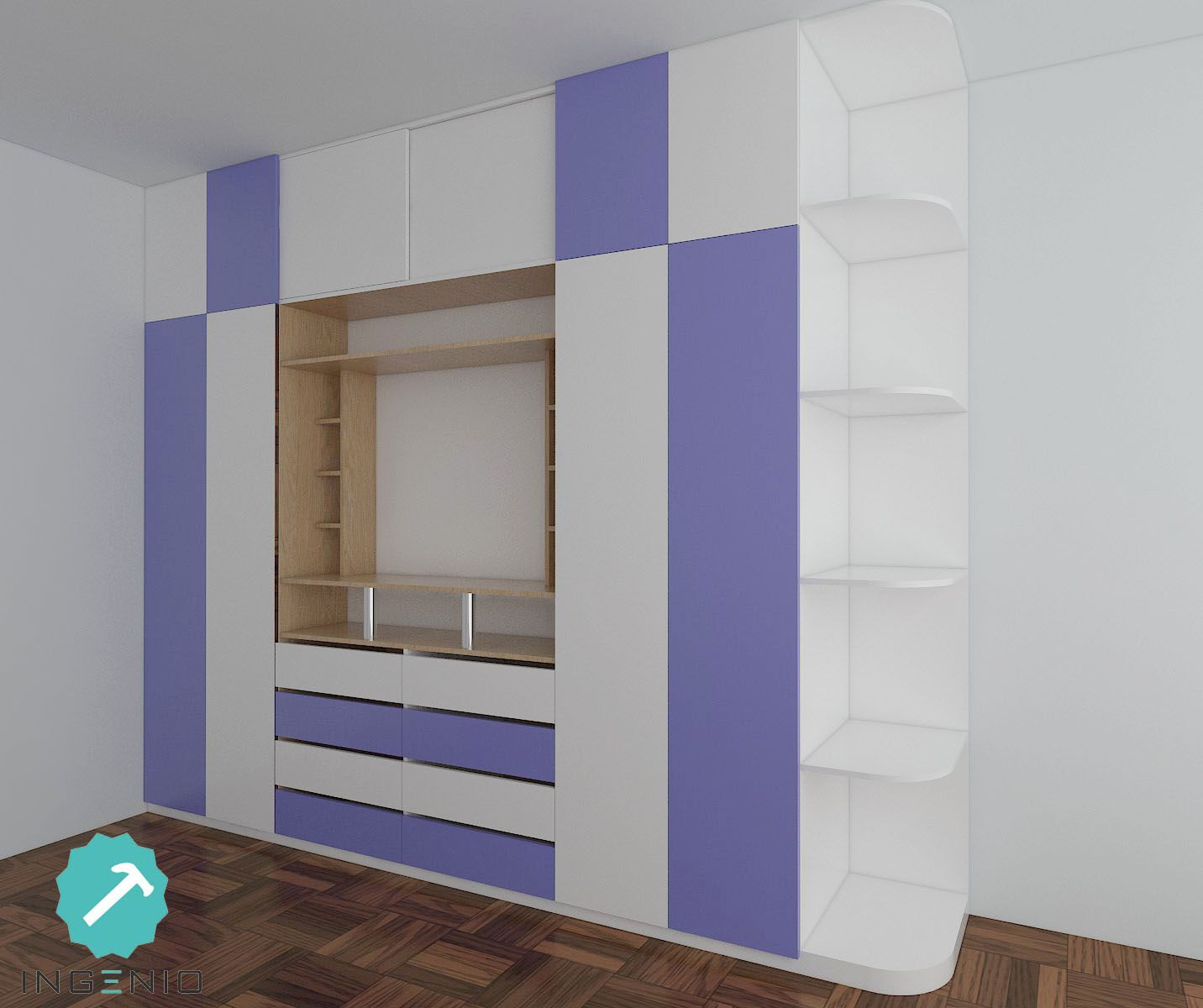Mueble closet tv para dormitorio de ni os dise os for Closet de madera para dormitorios